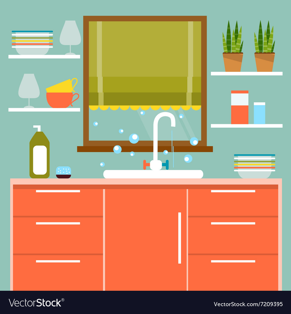 Kitchen interier vector