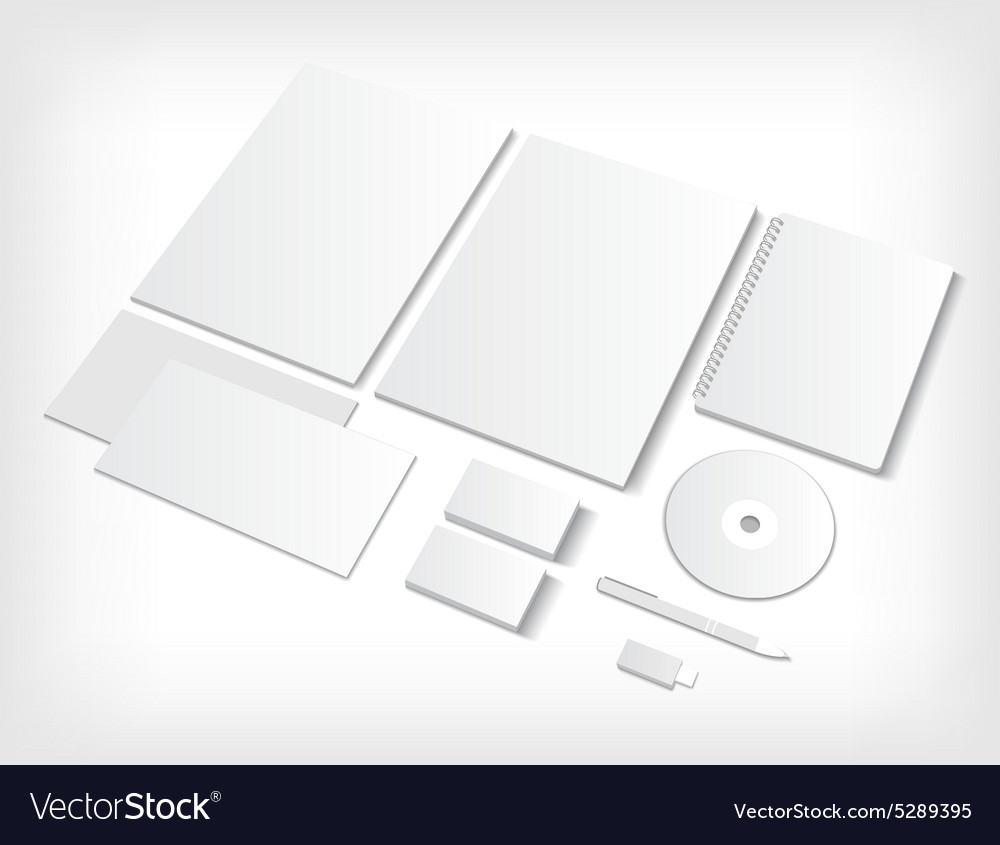 Set of ci blank templates with business cards and vector