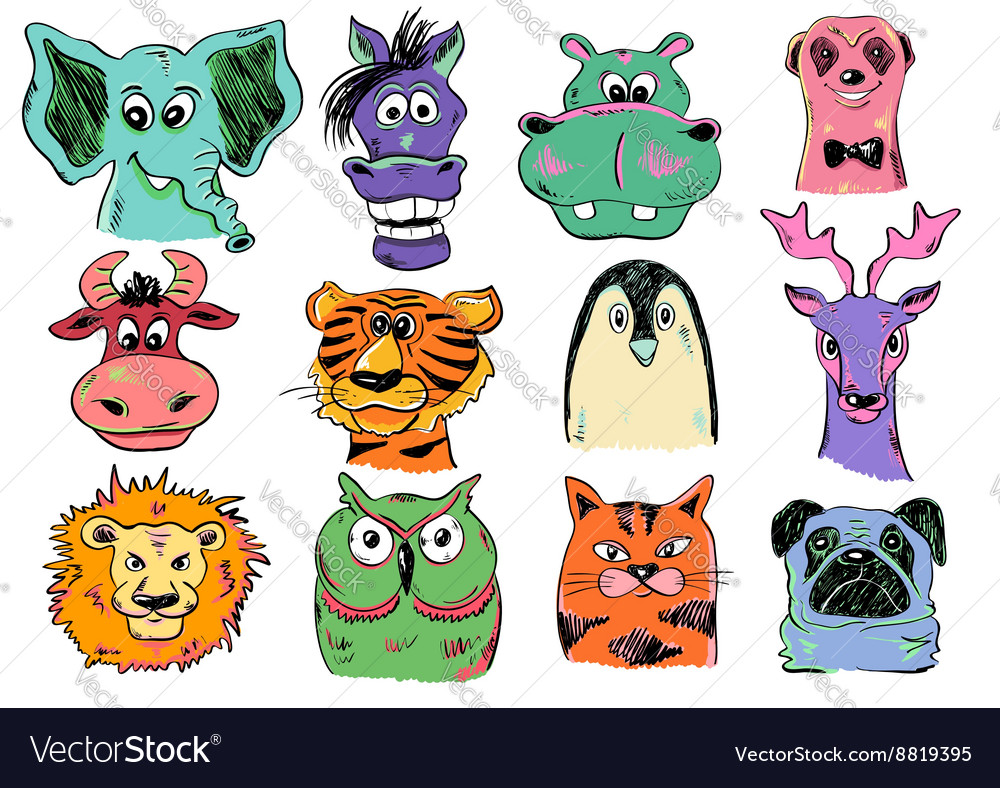 Set of funny cartoon animal face icons vector