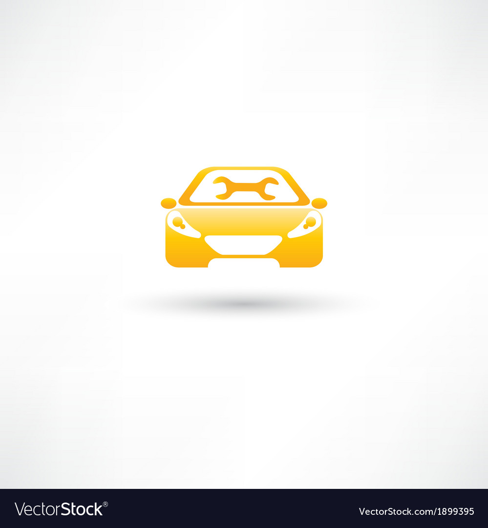 Yellow front car vector