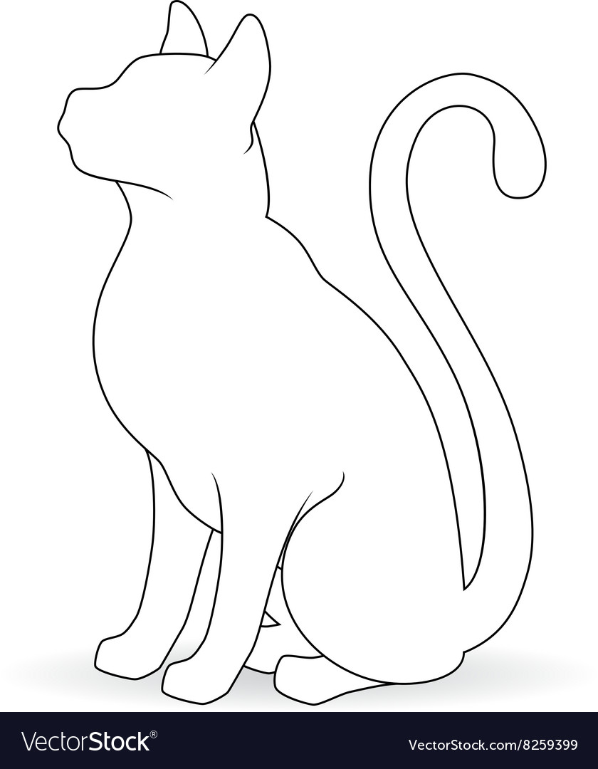 Stylized white silhouette of a cat vector