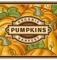 Retro Pumpkin Harvest Label vector image vector image