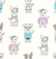Seamless pattern with puppies in cartoon style vector image