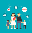 Big Family Father Mother Son Daughter and newborn vector image