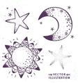 moon stars sun vector image