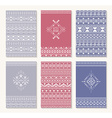 Set of six cards ethnic design vector image