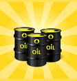 three realistic oil barrels on sunray background vector image