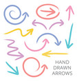 hand drawn arrows set vector image