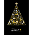 Merry christmas happy new year gold xmas tree deer vector image