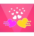 mooving hearts background in modern flat vector image