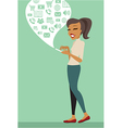Young woman using smartphone vector image vector image