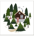 Wooden house in the coniferous forest vector image
