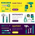 cartoon hand tools banner horizontal set vector image