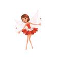 happy flying fairy spreading magical dust cartoon vector image