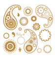 oriental paisley elements set collection of vector image