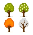 Pear Tree Set on White Background vector image