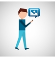 man watching cellphone walked image vector image