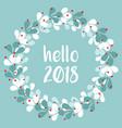 pastel laurel wreath hello new year 2018 vector image