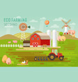 eco farming concept with house and farm animals vector image vector image