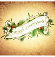 Vintage Merry Christmas Greetings vector image vector image