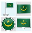 Mauritania flag - sticker button label vector image vector image