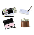 Big collection of business supplies vector image vector image