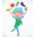 Baby cook juggles vegetables vector image vector image
