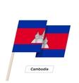 Cambodia Ribbon Waving Flag Isolated on White vector image