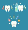 cute teeth logo elements vector image