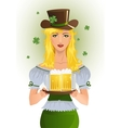 Girl with beer for StPatrics Day vector image