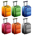 Luggages in six colors vector image