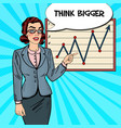 pop art business woman pointing on growth graph vector image