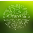 St Patricks day line icons set in circle shape vector image