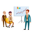 three businessmen in office with diagrams flat vector image
