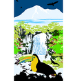 variegated tucanucu parrot on the waterfall and ju vector image