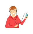 Guy In Hoodie WIth Hands-Free Headphones Plugged vector image vector image