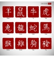 Zodiac symbols calligraphy on red background vector image