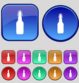 bottle icon sign A set of twelve vintage buttons vector image
