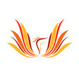 abstract flame phoenix wings line art symbol vector image