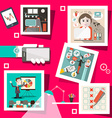Business Screens with Technology Icons and People vector image