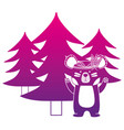 color silhouette ethnic bear animal with pine vector image
