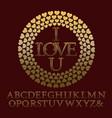 gold patterned letters with tendrils vintage font vector image