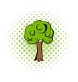 Green tree comics icon vector image