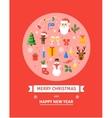 Greeting Christmas Card New Year symbols - vector image