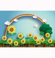 sunflower and rainbow vector image