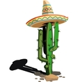 Cactus in the Mexican hat vector image vector image