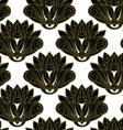 Gold and black floral emblem design seamless vector image