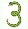 Snake font Digit 3 vector image vector image