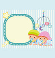 border template with two toddlers vector image