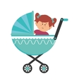 cute little girl character in baby cart vector image